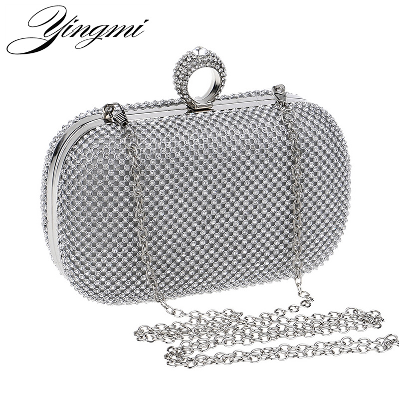 Vintage Women Rhinestones Evening Bags Silver/Gold/Black Finger Ring Diamonds Chain Shoulder Day Clutch Small Purse Evening Bags стоимость