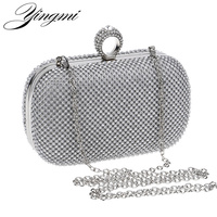 Hot Selling Finger Rings Diamonds Clutch Purse Evening Bags Mixed Color Rhinestones Evening Bag Small Handbags
