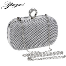 YINGMI Women Rhinestones Evening Bags Silver/Gold/Black Finger Ring Diamonds Chain purse Day Clutch Small Purse Evening Bags
