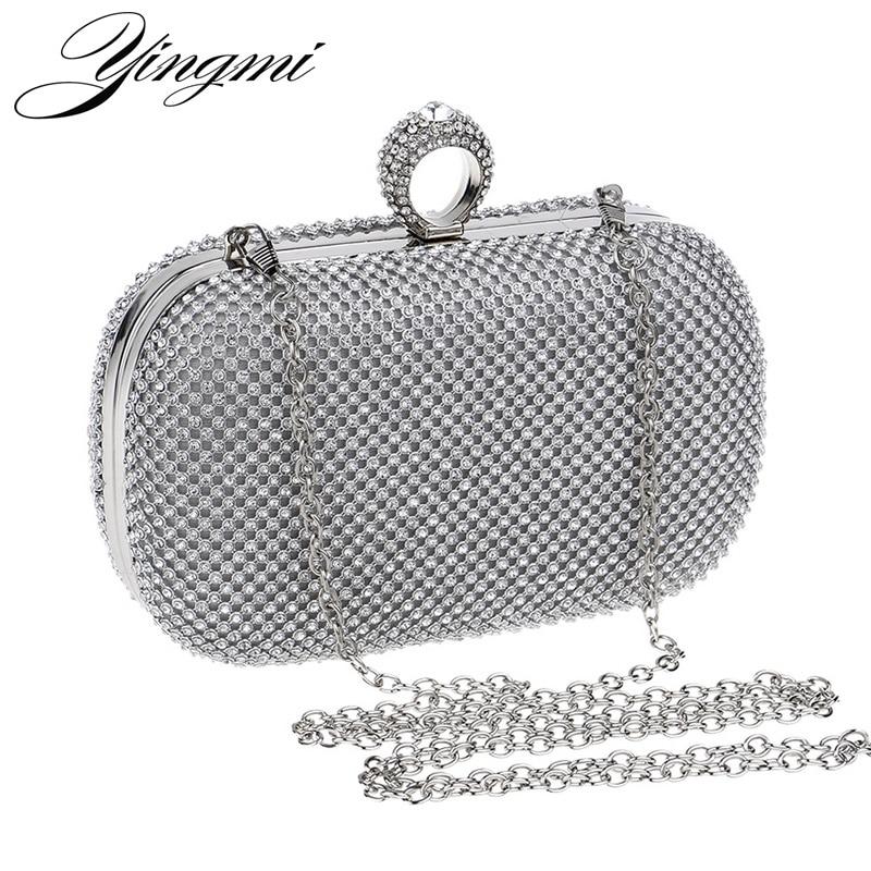YINGMI Women Rhinestones Evening Bags Silver/Gold/Black Finger Ring Diamonds Chain Shoulder Day Clutch Small Purse Evening Bags