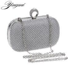 Yingmi女性ラインストーンイブニングバッグシルバー/ゴールド/ブラック指輪リングダイヤモンドチェーン財布日クラッチ小財布イブニングバッグ