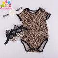 Enbaba niñas bebés ropa de verano 2016 ropa de las muchachas infantiles kids Leopard imprimir manga corta romper + venda + zapatos 3 unid traje