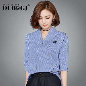 OUBOGJ 2018 Striped Blouse Top Women Korean Fashion V-neck 7/10 Sleeve 100% Cotton Summer Women's Shirt Kimono S-XL