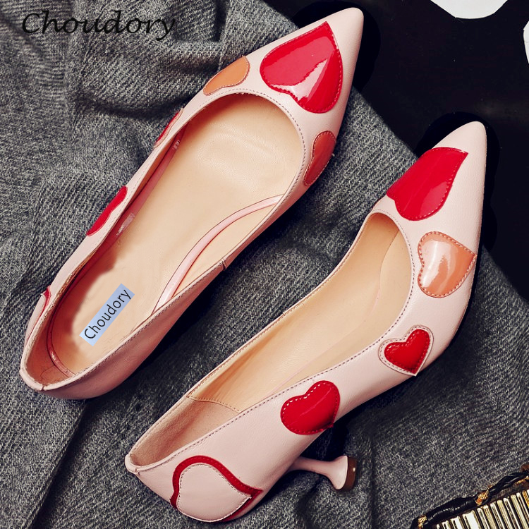 Choudory Peach Heart Mixed Colors Woman Pumps Pointed Toe Thin Heels Zapatos Mujer Attractive Casual Slip-On Shallow Woman Shoes 2015 autumn korean style pointed shoes with thin heels original glass double peach heart design shoes leather shoes