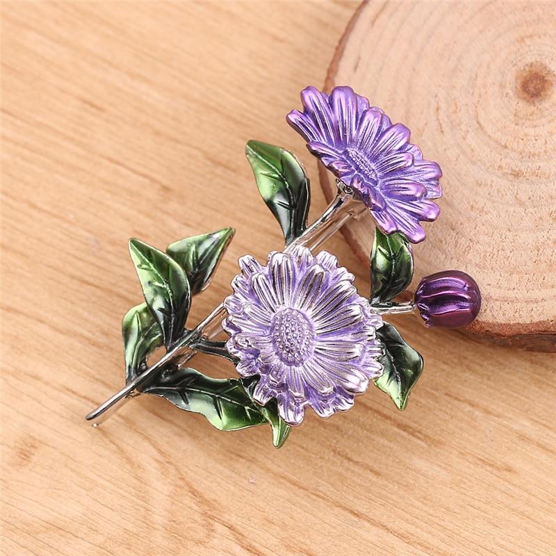 Fashion Daisy Flower Leaves Brooch Pin Pink Purple Yellow Chrysanthemum Brooch CLOVER JEWELLERY