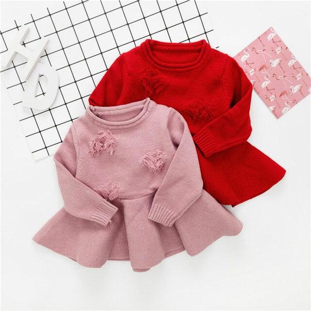 aaf1d02ea Girl Knitted Sweater Dress Kids Autumn Princess Dress Girls Long ...