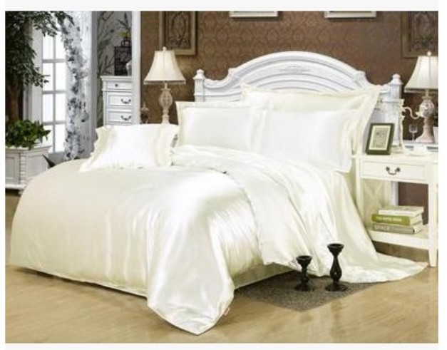 Silk cream bedding set white satin super king size queen full twin quilt duvet cover bed ...