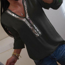 2019 Loose Sequin Top Shirts Glitter Sequins Tunic Shirt Autumn Women Fashion V Neck Pullover Tops Plus Size Fashion Casual