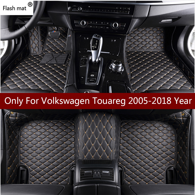 Flash tapis en cuir de voiture tapis de sol pour Volkswagen vw Touareg 2009-10-11-12-13-14-15-16-17 Personnalisé pied Tapis automobile tapis couverture