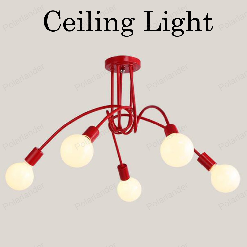 ФОТО Creative Personality Ceiling Lamps Fixtures Living Room Lamparas De Techo Lustre 3/5 Heads red black white Led Ceiling Lights