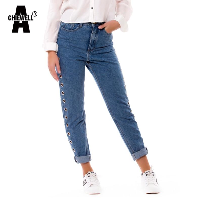 Achiewell Весна Повседневное Для женщин Mom Jeans сбоку ушко дружок Высокая Талия синий Винтаж свободные Для женщин джинсы джинсовые штаны