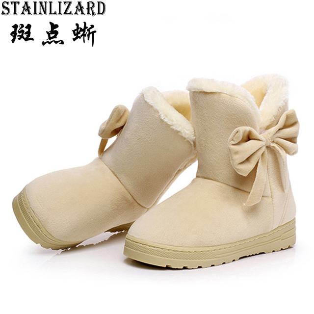 Botas novas Mulheres Neve Bowtie Casuais Mulheres Planas Botas de Inverno Lazer veludo Tornozelo Bota Dedo Do Pé Redondo Confortável Sapatos Menina SAT905