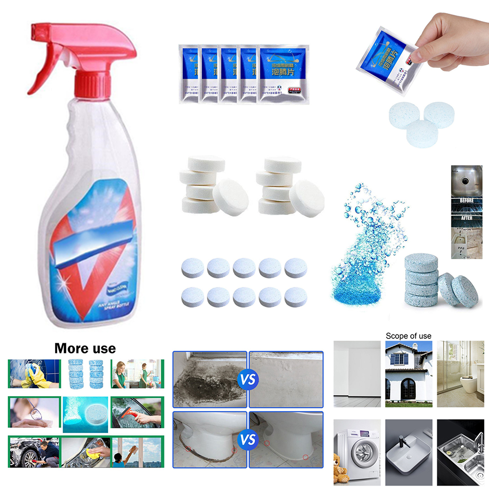 Home Floor Window Cleaner Effervescent Tablets Solvent Watering Can Cleaning Descaling Decontamination Tablets Powerful Cleaner