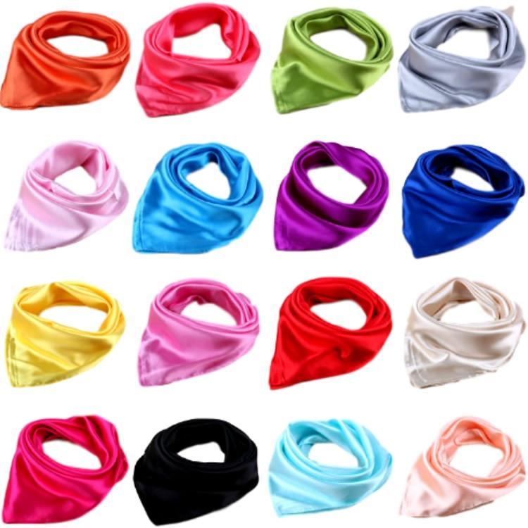 Women Men Adult Rectangular Square Mini Small Satin Solid Plain   Scarf   Kerchief Bandanna Head Neck Hand   Wrap   Headbands Face Mask