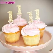 10Pcs גליטר נייר 1 Cupcake Toppers 1st מסיבת יום הולדת קישוטי ראשון תינוק ילד ילדה שלי 1 שנה ספקי