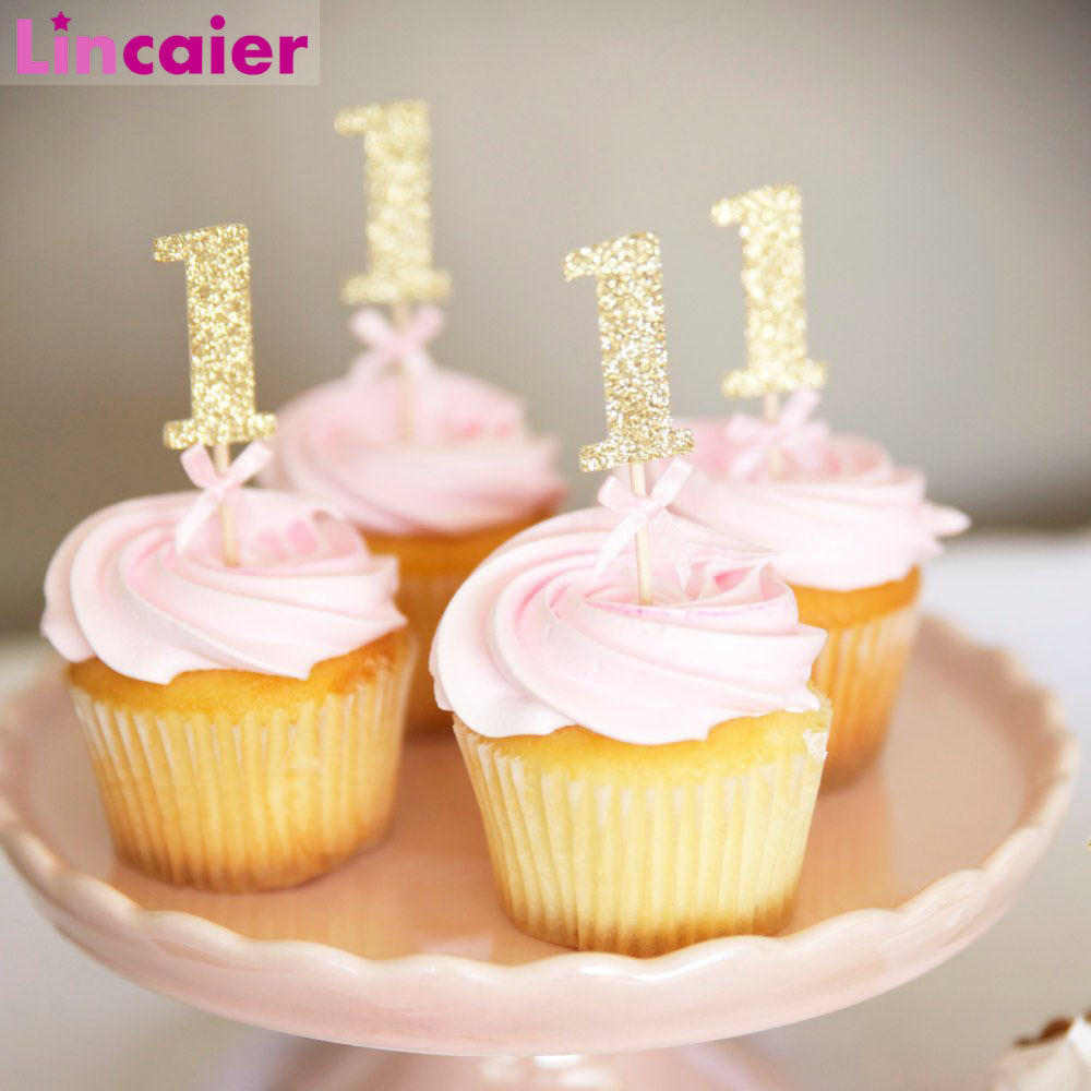 10Pcs Glitter Paper <font><b>1</b></font> Cupcake Toppers 1st Birthday Party Decorations First Baby Boy Girl My <font><b>1</b></font> Year Supplies image
