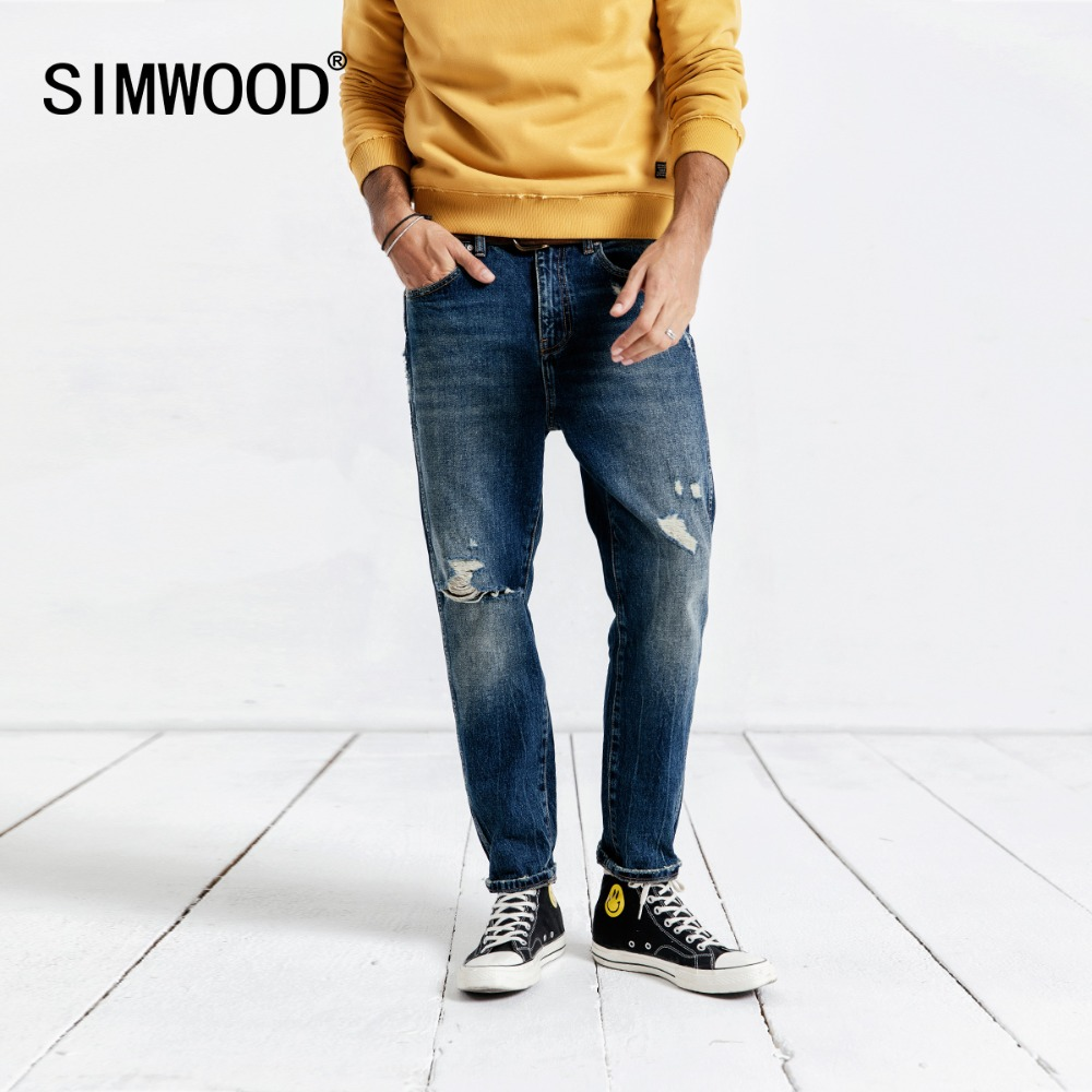 SIMWOOD 2019 Casual   Jeans   Men Fashion Ankle-Length Pants Slim Fit Denim Pants Trousers Brand Clothing Hole Streetwear 190037