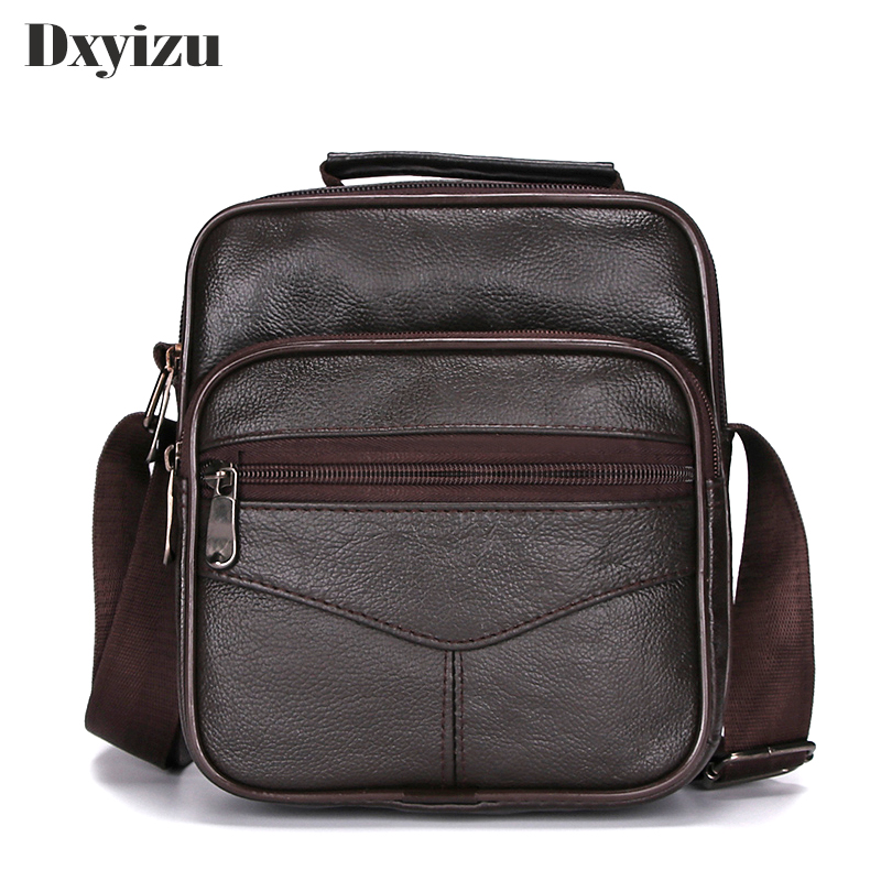 2018 New Mens Genuine Leather Handbag Shoulder Bag Cow Leather Bag Vintage Casual Style Flap Bags Brown Color Purse For Boys