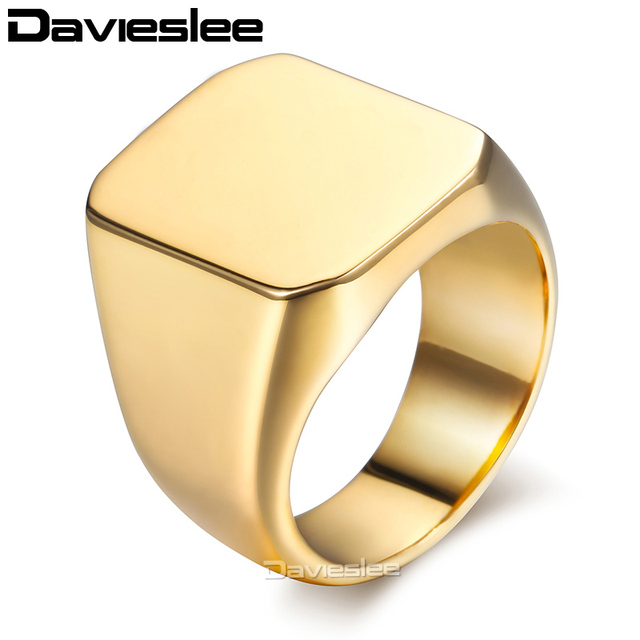 ad36eb696d7485 Davieslee 316L Stainless Steel Men's Rings Classic Smooth Black Gold Silver  Color Ring for Men Dropshipping Jewelry Gifts LHRM76