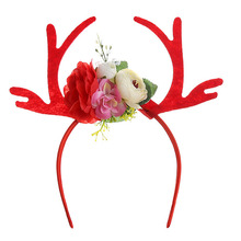 Popular Plum Antler Ears Christmas headband  adult child headwear handmade hair accessories masquerade jewelry