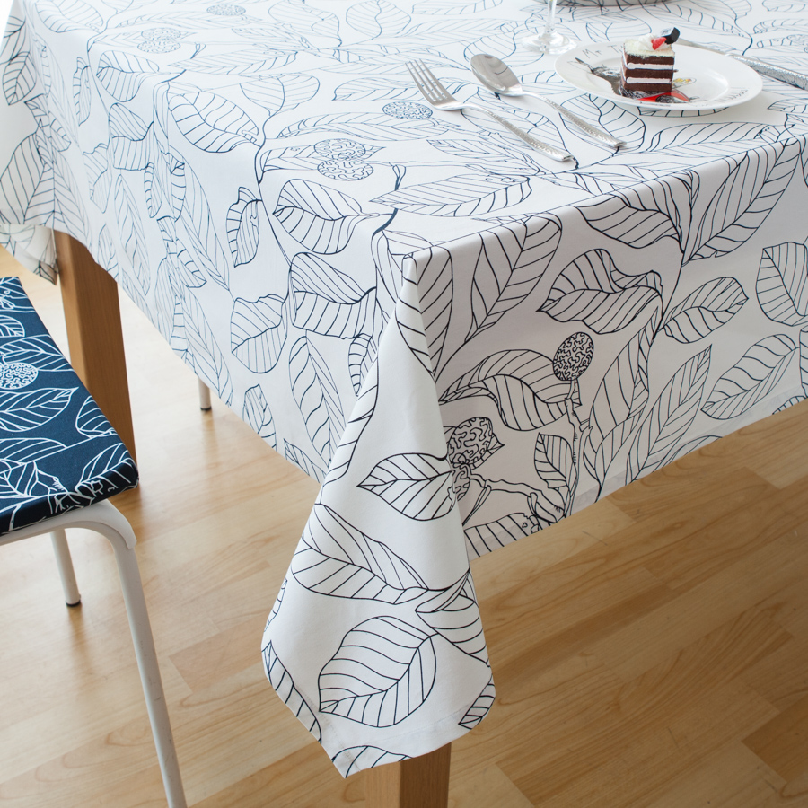 New 100% Cotton Cotton Table Cloth Covers White Leaves Printed Thick Home Deora Cloth Rectangular Tablecloths