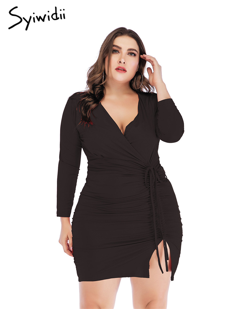 Plus Size Dresses for Women 4xl 5xl Bodycon Long Sleeve ...