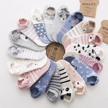 SP CITY 5pairs Cute Animal Cotton Socks Female Kawaii Cat With Dog Summer Short Sock Slippers