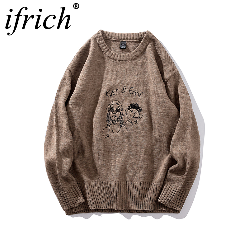 IFRICH New Stylish Men Winter Hip Hop Casual Warm Crew Neck Sweaters Jumper Male Casual Long Sleeve Front Pockets Pullovers Tide