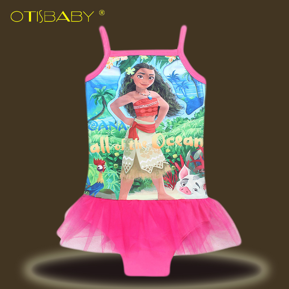 Dreamworks Girls Moana Princess Trolls Poppy Bodysuit Bikini Kids Magic One Piece Children Girl Tutu Halter Dress Moana Clothing