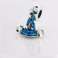 Fits Charms Bracelet Mouse Magic Hat Blue 925 Sterling Silver Jewelry Blue Enamel Charms DIY Making