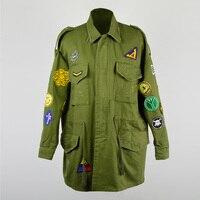 Confortável moda turn down collar exército verde casaco outerwear crachá mulheres jaqueta losse