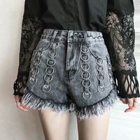 Spring Summer New Euramerican Style Denim Jeans Lady Metal Hoop Circle Burrs Do Old Denim Shorts