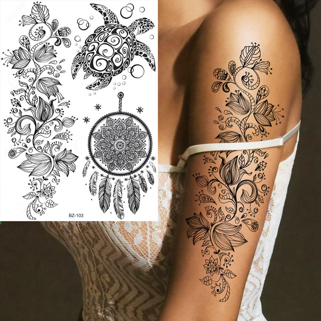 Us 0 94 5 Off Coktak Black Dreamcatcher Feather Turtle Fake Tattoos Henna Arm Temporary Stickers Women Dream Catcher Tatto Body Arm Girl Tatoo In