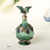 24ml Green Retro Graven Brown Metal And Glass Empty Container Refillable Portable Gift Perfume Bottle Home