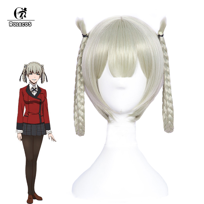 ROLECOS Japanese Anime Kakegurui Cosplay Headwear Kirari Momobam Cosplay Hair 35cm Women Synthetic Hair Two Braided Hair