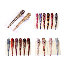 New Fashion Women Vintage Resin Hair Pin Clip Leopard Duckbill Geometric Hairpins Clips Styling Accessories