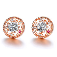 100% 925 Sterling Silver Earrings Rose Gold Flower Sutd Earrings Đối Với Phụ Nữ Jewelry HER212