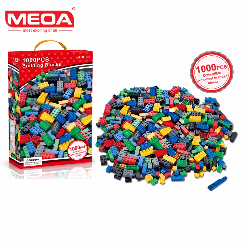 MEOA 1000pcs Building Bricks Set DIY Creative Brick Kids Toy Educational Building Blocks Bulk Compatible With Brand Blocks umeile brand farm life series large particles diy brick building big blocks kids education toy diy block compatible with duplo