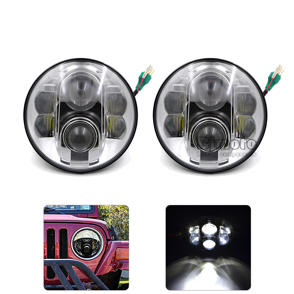 BJGLOBAL Pair DRL Headlight 7 80w Round LED Light High/Low Beam Headlamp for JEEP Wrangler 2007-2015 Jk Tj Fj Land Rover