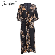 Simplee Floral print long blouse shirt kimono Flare sleeve high waist summer kimono cardigan Women vintage 2017 blouses blusas