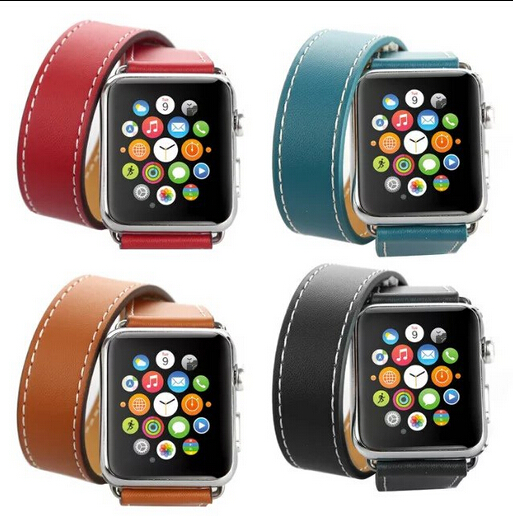 цена Series 4/3/2/1 Genuine Leather Loop Long Double Tour Watch Band for Apple Watch 38/42mm/40mm 44mm Cuff Bracelet straps