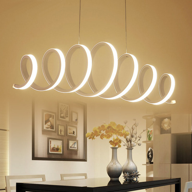 Modern spring shape led chandelier for dining kitchen room for Lampadari led moderni