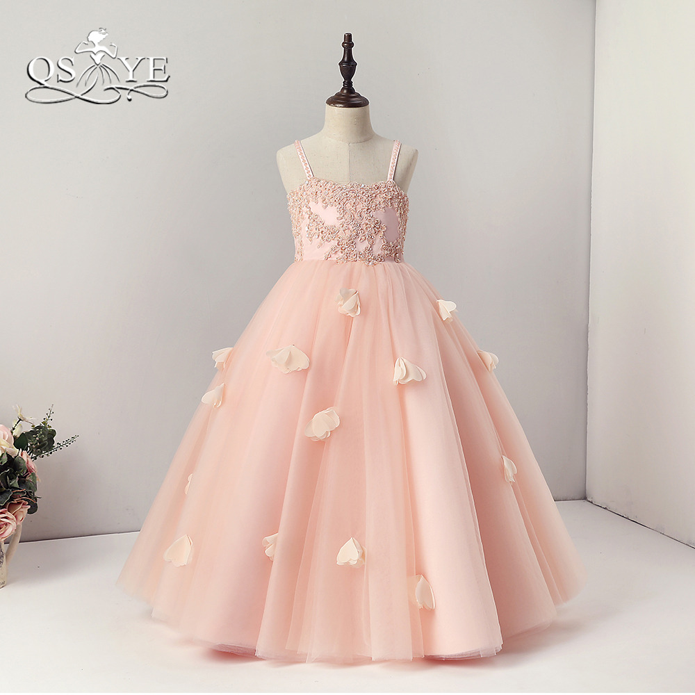 QSYYE Pink   Flower     Girl     Dresses   Cute Spaghetti Straps Sweetheart Beaded Lace Tulle with 3D   Flowers   Grils Communication   Dress   Prom