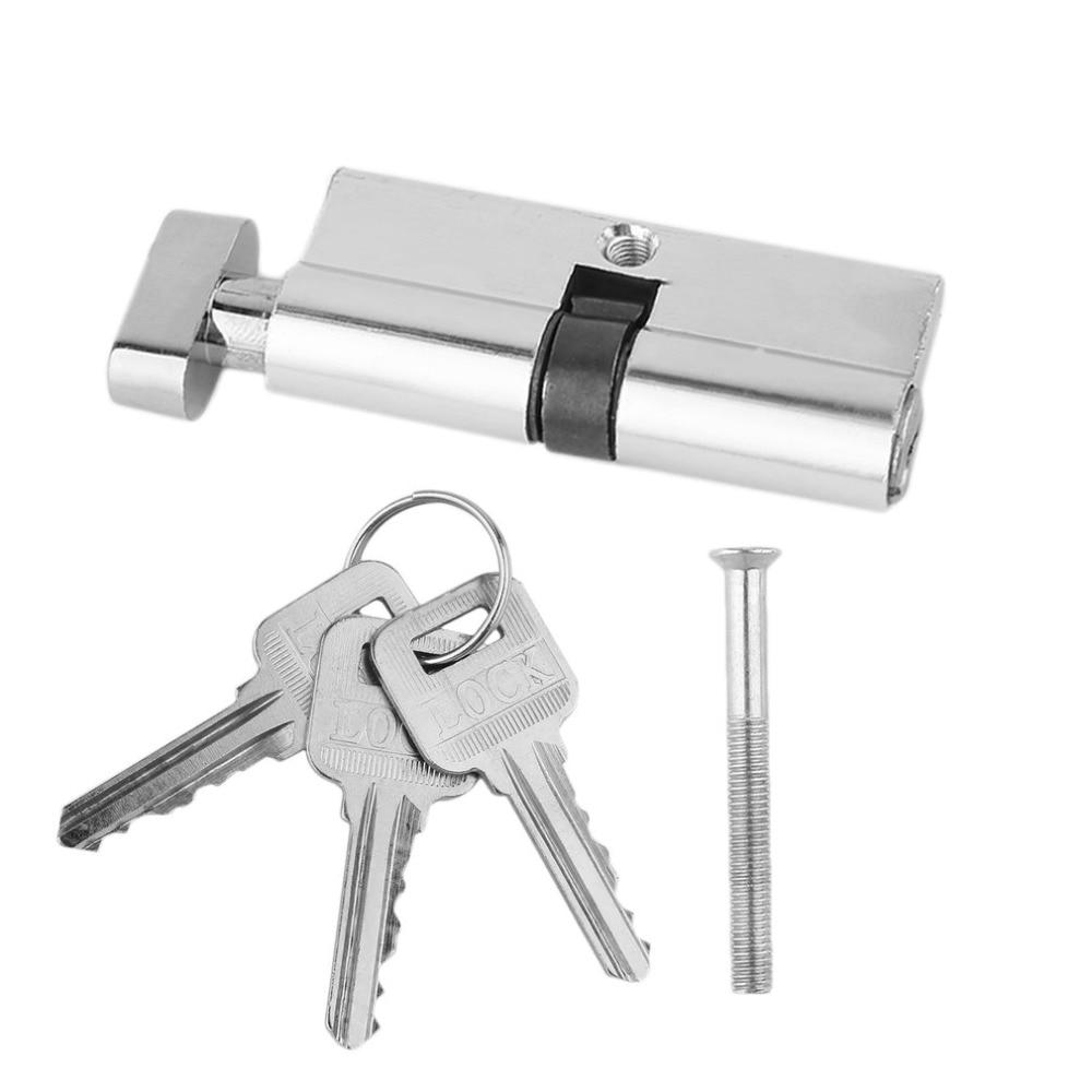 2017 de Alta Qualidade 70 milímetros de Alumínio do Metal Canhão Da Fechadura Da Porta de Segurança Em Casa Anti-Pressão Anti-Broca Com 3 conjunto de Ferramentas chaves Tom de Prata