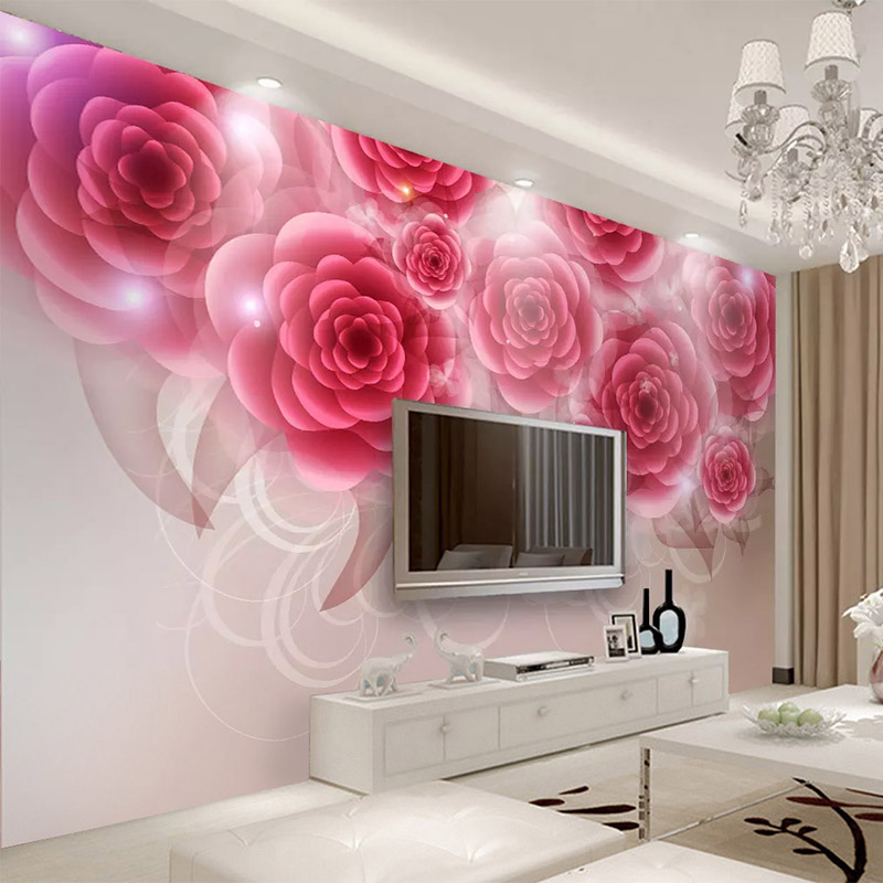 Custom Any Size Murals Wallpaper 3D Romantic Rose Red
