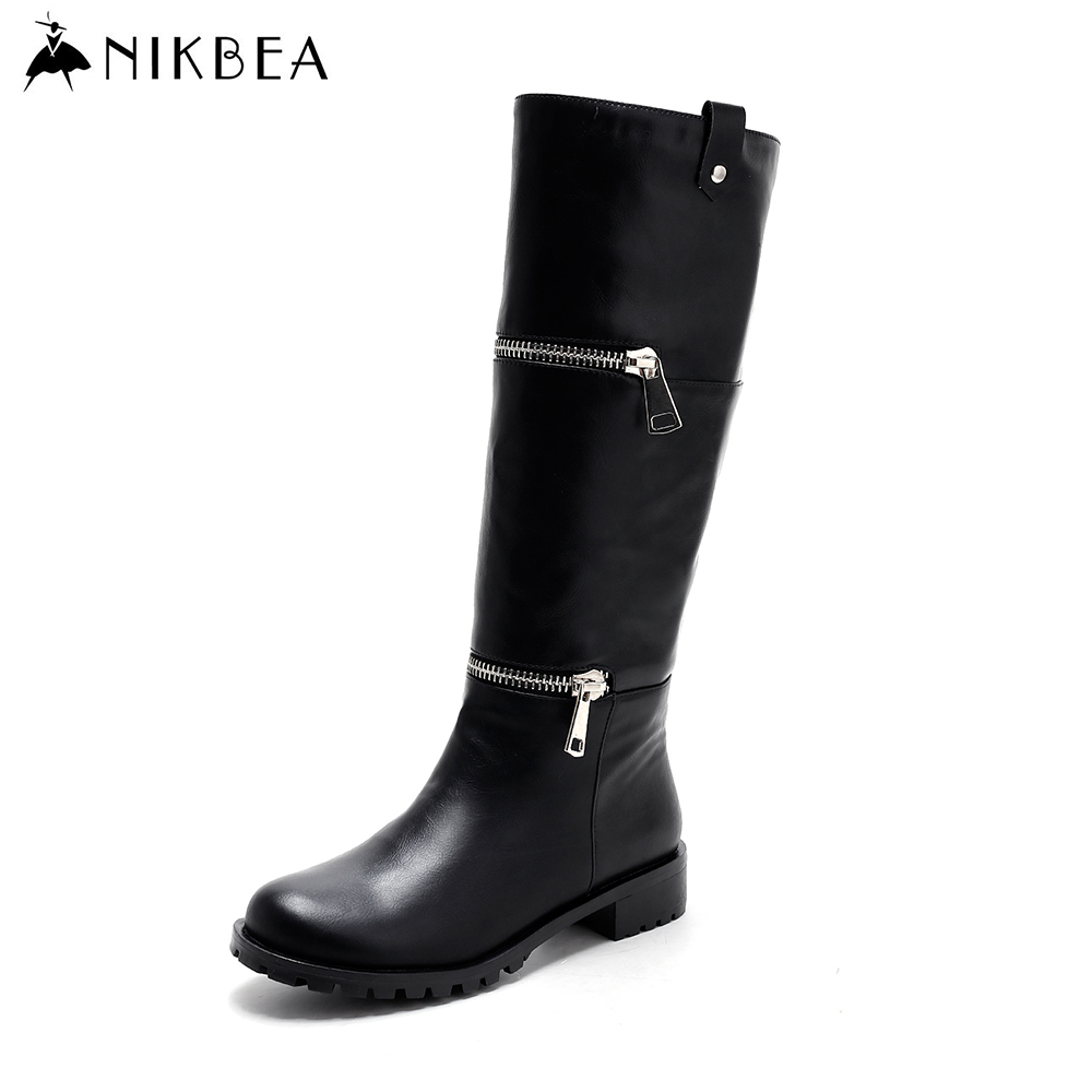купить Nikbea Handmade Black Punk Rock Motorcycle Boots Women Knee High Boots Flat Heel Ladies 2016 Winter Shoes Long Boots Pu Slip on дешево