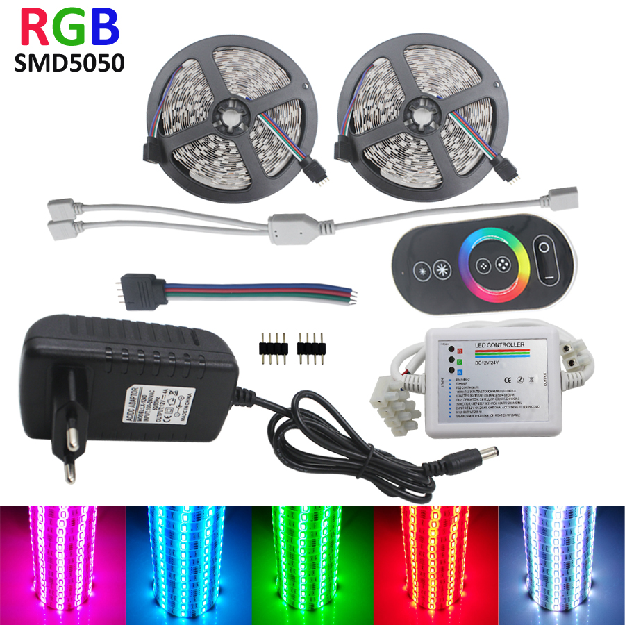 10m LED Strip Light SMD 5050 RGB LED Strip 12V Waterproof Flexible Tape Ribbon String RF Touch Controller + DC 12V Power 10m 5m 3528 5050 rgb led strip light non waterproof led light 10m flexible rgb diode led tape set remote control power adapter