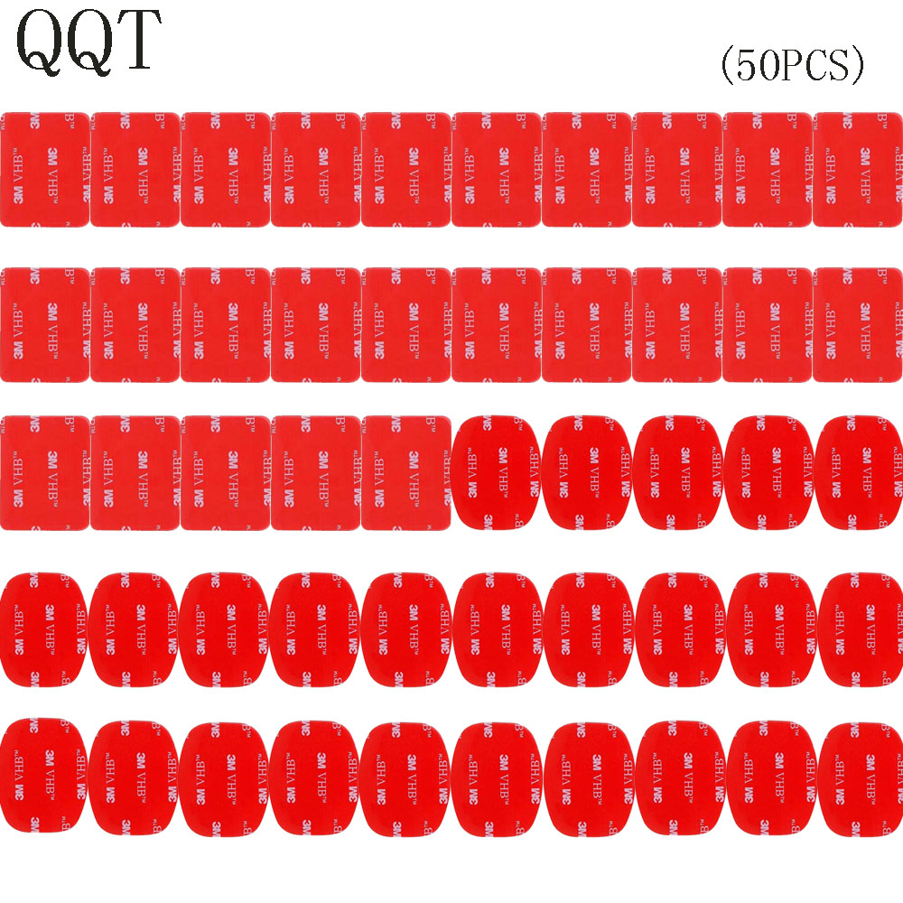 QQT 50 Pcs For Gopro hero 5 4 3 + 3 2 SJ4000 Red 3 M VHB Adhesive Sticker 25 Curve 25 Flat Double Adhesive Tape Mounting helmet justone j029 3m vhb safety tether for gopro hero 4 3 3 2 1 sj4000 blue red