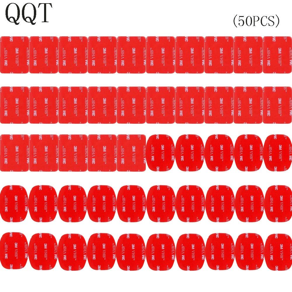 QQT 50 pièces pour Gopro hero 5 4 3 + 3 2 SJ4000 rouge 3 M VHB autocollant adhésif 25 courbe 25 plat Double ruban adhésif montage casque