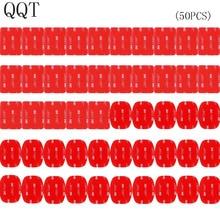 QQT 50 PcsสำหรับGopro Hero 5 4 3 + 3 2 SJ4000 สีแดง 3 M VHBกาวสติกเกอร์ 25 Curve 25 แบนกาวเทปติดตั้งหมวกนิรภัย